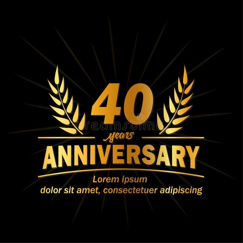 40.a plantilla del diseño del aniversario 40.o vector y ejemplo de los años libre illustration