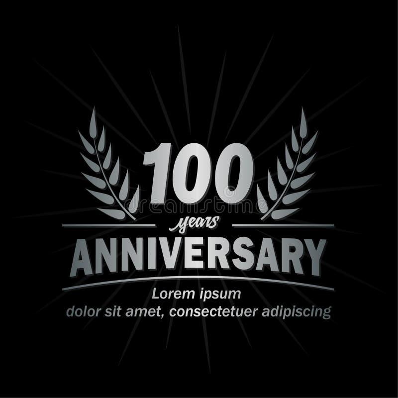 plantilla del diseño del aniversario del th 100 100o vector y ejemplo de los años ilustración del vector