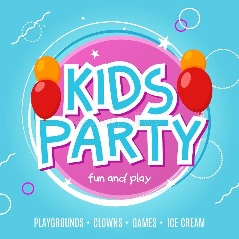 Plantilla del diseño del aviador de la celebración del partido de la diversión de los niños Decoración de la bandera del evento d ilustración del vector