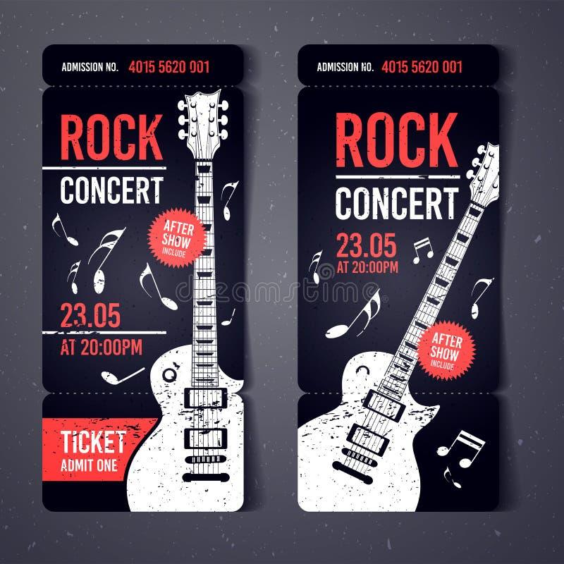 Plantilla del diseño del boleto del concierto de rock del negro del ejemplo del vector con la guitarra negra y efectos frescos de stock de ilustración
