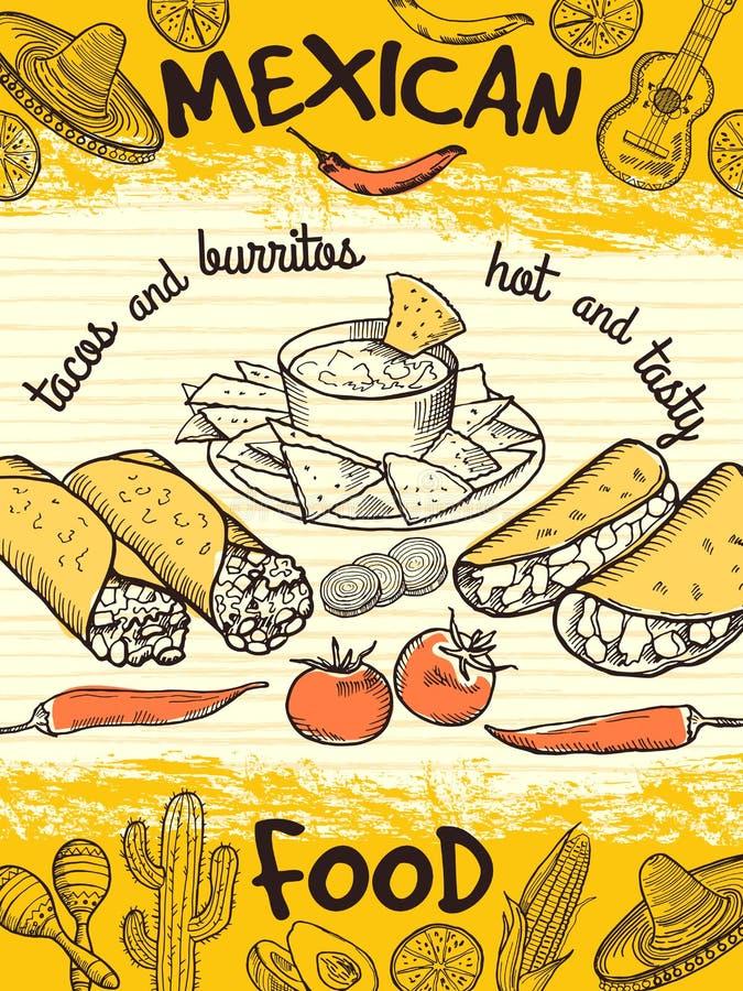 Plantilla del diseño del cartel con la comida mexicana ilustración del vector