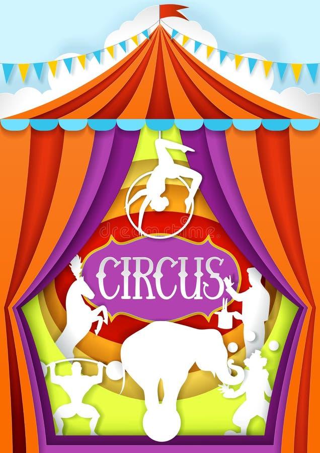 Plantilla del diseño del cartel del corte del papel del vector del circo libre illustration