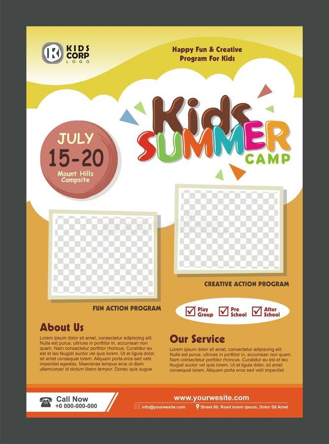 Plantilla del diseño del cartel de la bandera del campamento de verano de los niños para los niños ilustración del vector