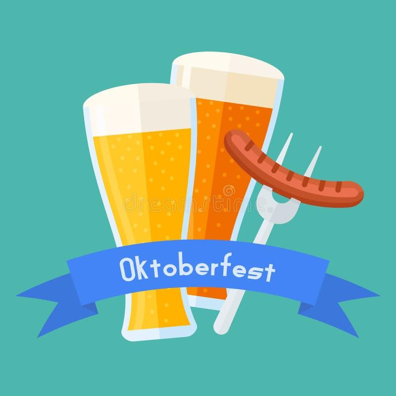 Plantilla del diseño del cartel de Oktoberfest Vidrios de cerveza con la salchicha stock de ilustración