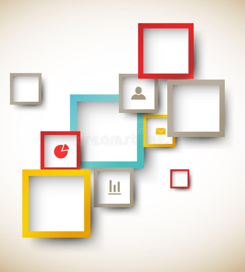 Plantilla del diseño con los cuadrados ilustración del vector