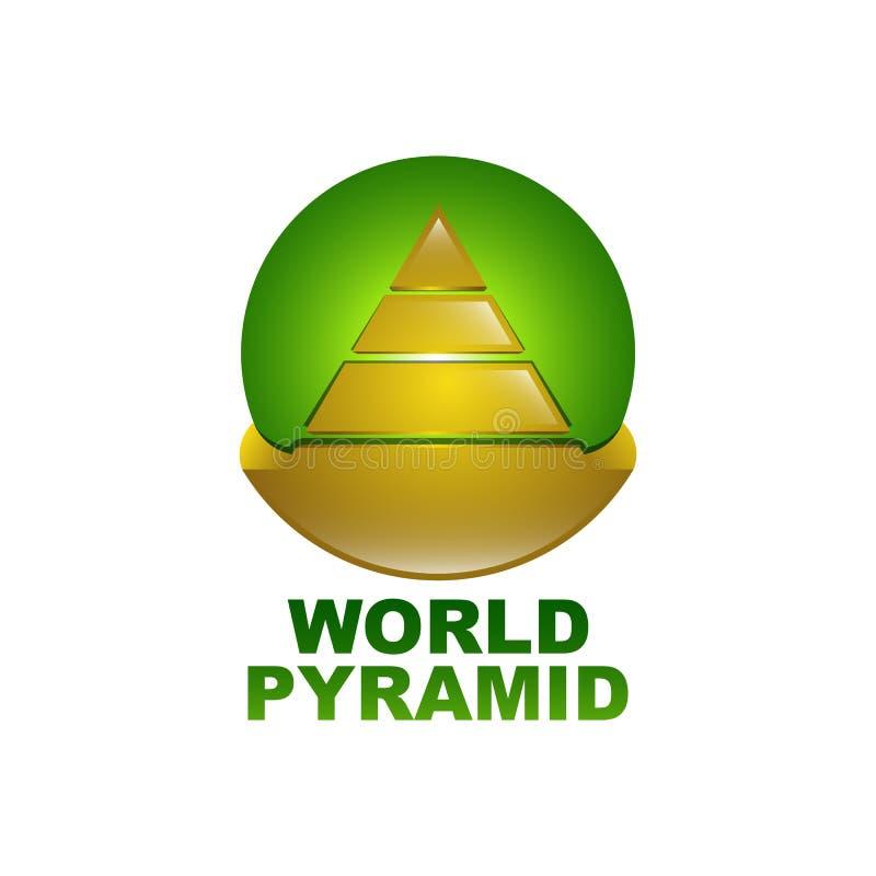 Plantilla del diseño de concepto del logotipo de la pirámide del mundo en color verde del oro y del círculo ilustración del vector