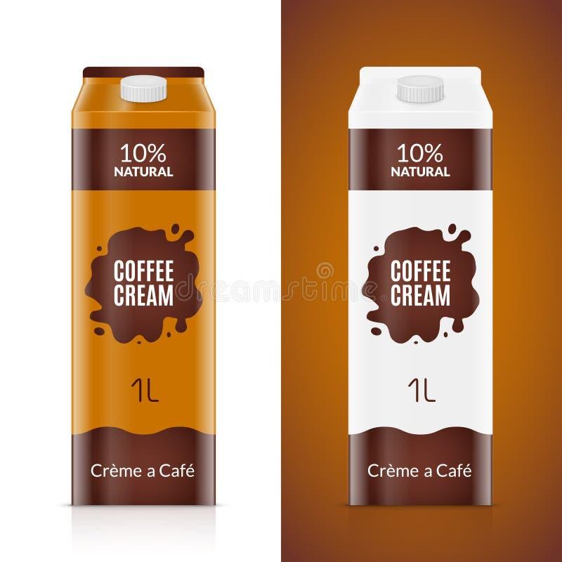 Plantilla del diseño de empaquetado del café con leche Paquete poner crema del producto aislado Bolso líquido de la comida del ca ilustración del vector