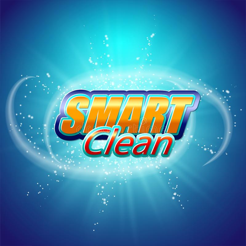 Plantilla del diseño de empaquetado para el detergente Estupendo limpie Burbujas de jabón, espuma stock de ilustración