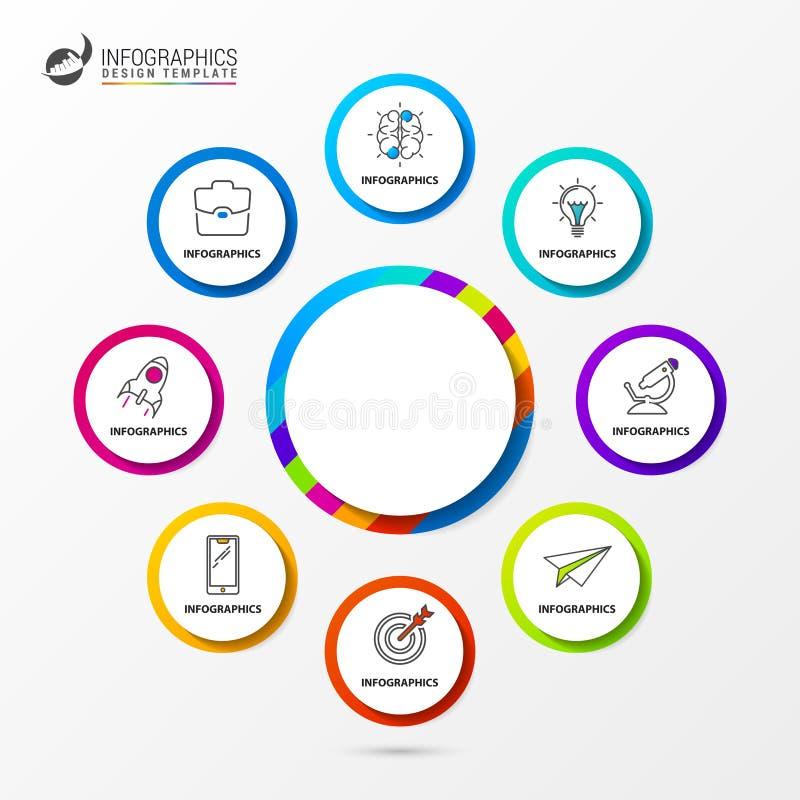 Plantilla del diseño de Infographic Carta de organización con 8 pasos ilustración del vector