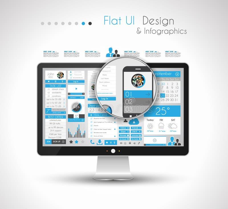 Plantilla del diseño de Infographic con estilo plano moderno stock de ilustración