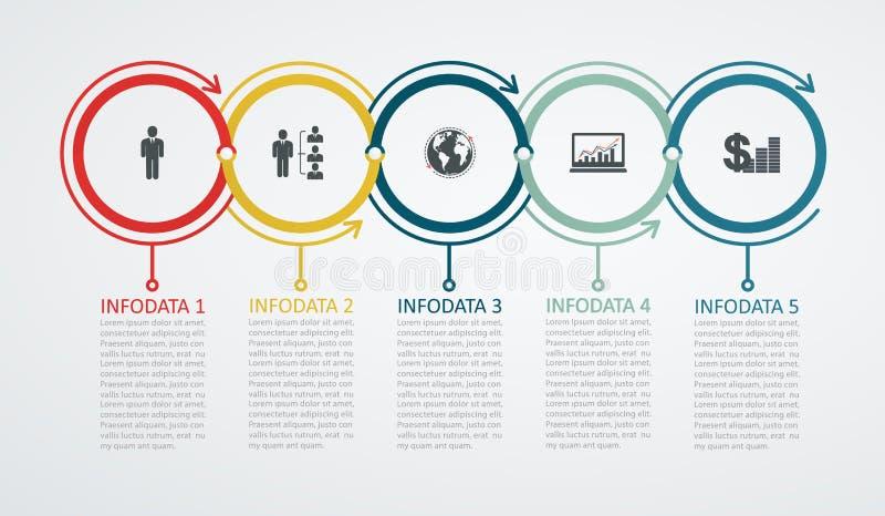 Plantilla del diseño de Infographic con la estructura de 5 pasos encima de la flecha libre illustration