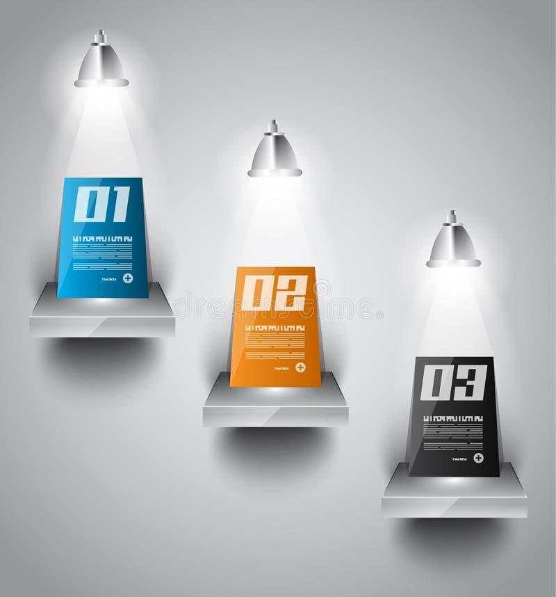 Plantilla del diseño de Infographic con las etiquetas de papel. ilustración del vector