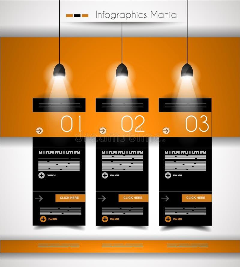 Plantilla del diseño de Infographic con las etiquetas de papel ilustración del vector