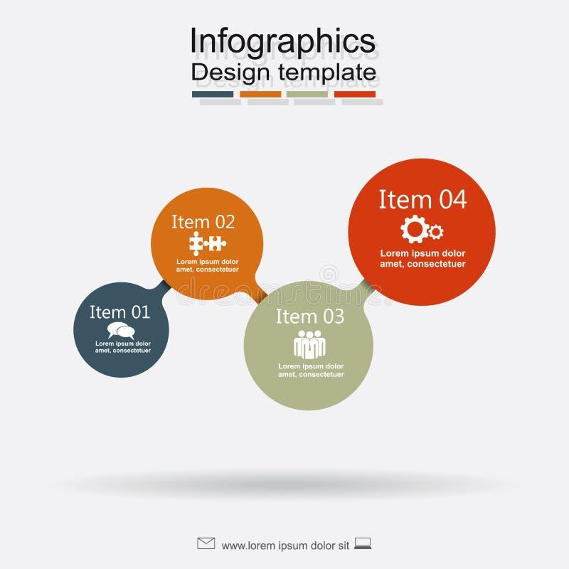 Plantilla del diseño de Infographic con los elementos y los iconos Vector ilustración del vector