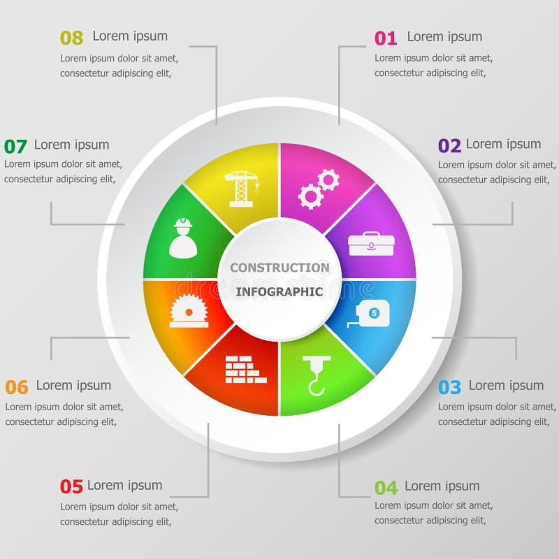 Plantilla del diseño de Infographic con los iconos de la construcción libre illustration