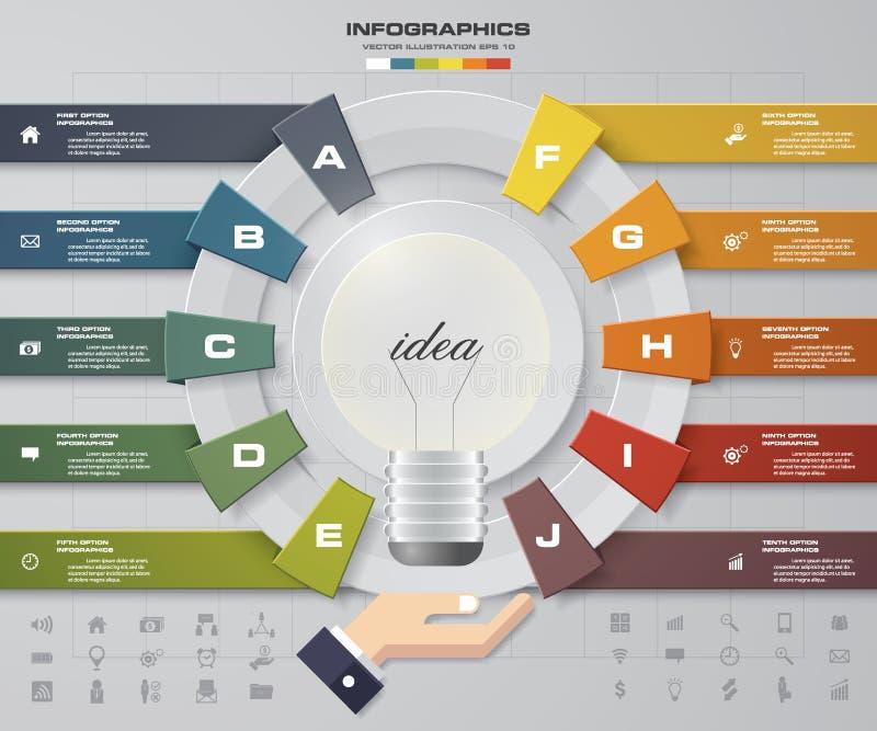 Plantilla del diseño de Infographic con opciones del concepto 10 del negocio y sistema de iconos stock de ilustración