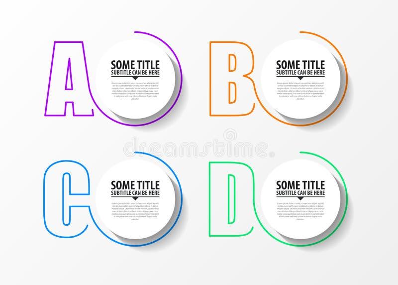 Plantilla del diseño de Infographic Concepto creativo con 4 pasos stock de ilustración