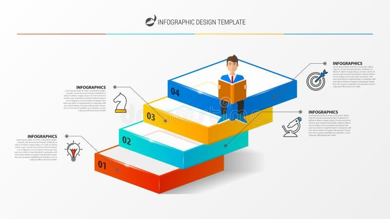 Plantilla del diseño de Infographic Concepto creativo con 4 pasos ilustración del vector