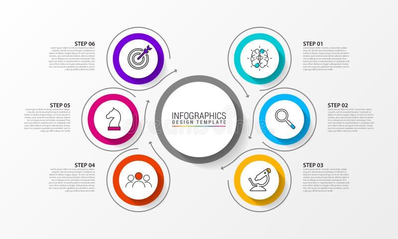 Plantilla del diseño de Infographic Concepto creativo con 6 pasos stock de ilustración