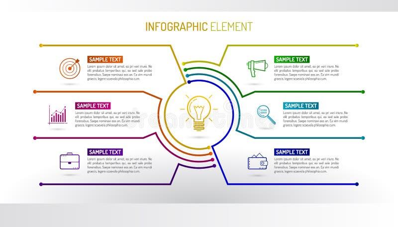 Plantilla del diseño de Infographic del vector hecha de líneas y de iconos libre illustration