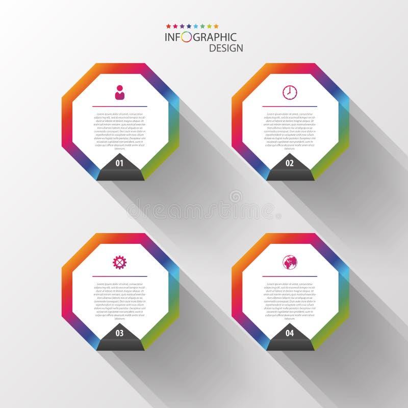 Plantilla del diseño de Infographic Hexágonos coloridos Vector libre illustration