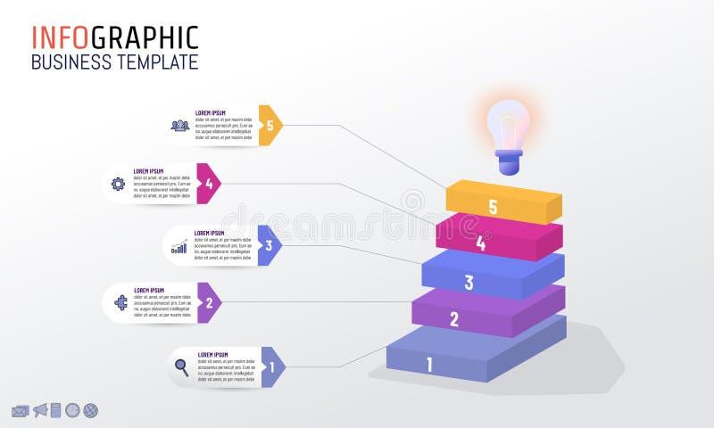 Plantilla del diseño de Infographic para el concepto del márketing de negocio con ilustración del vector