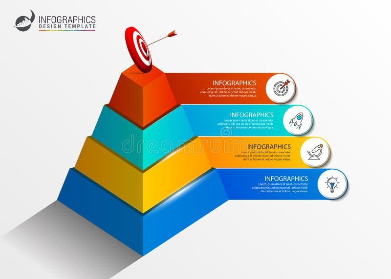 Plantilla del diseño de Infographic Pirámide creativa con 4 pasos libre illustration