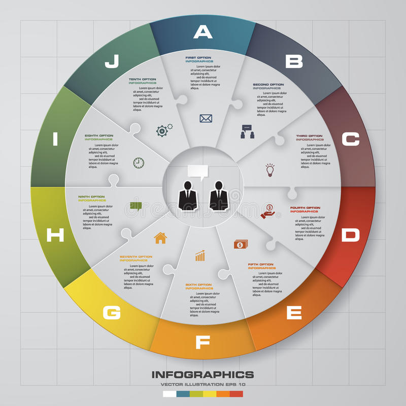 Plantilla del diseño de Infographic y concepto del negocio con 10 opciones Conecte vía rompecabezas del jigzaw libre illustration