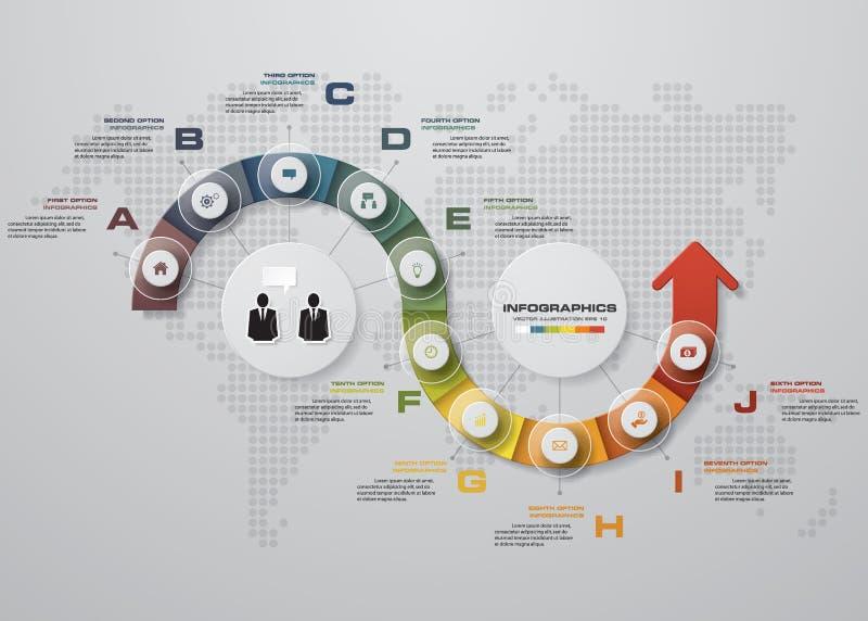 Plantilla del diseño de Infographic y concepto del negocio con 10 opciones, porciones, pasos o procesos libre illustration
