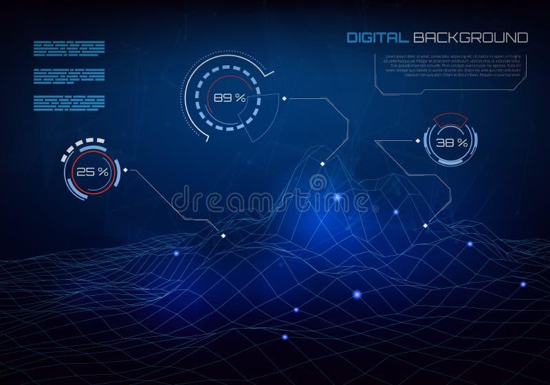 Plantilla del diseño de Infographics con los elementos futuristas stock de ilustración