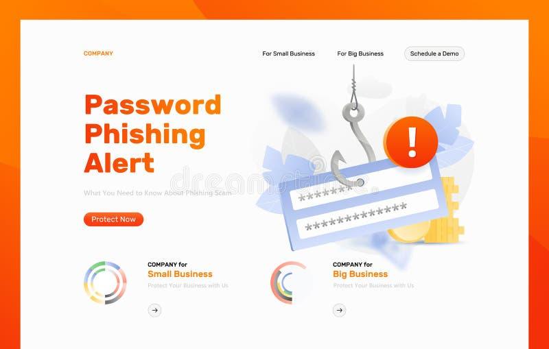 Plantilla del diseño de la alarma del phishing de la contraseña libre illustration