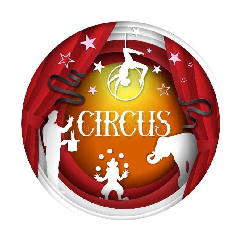 Plantilla del diseño de la bandera del cartel del corte del papel del vector del circo stock de ilustración