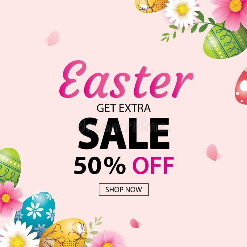 Plantilla del diseño de la bandera de la venta de Pascua con los huevos y las flores coloridos Uso para hacer publicidad, aviador libre illustration