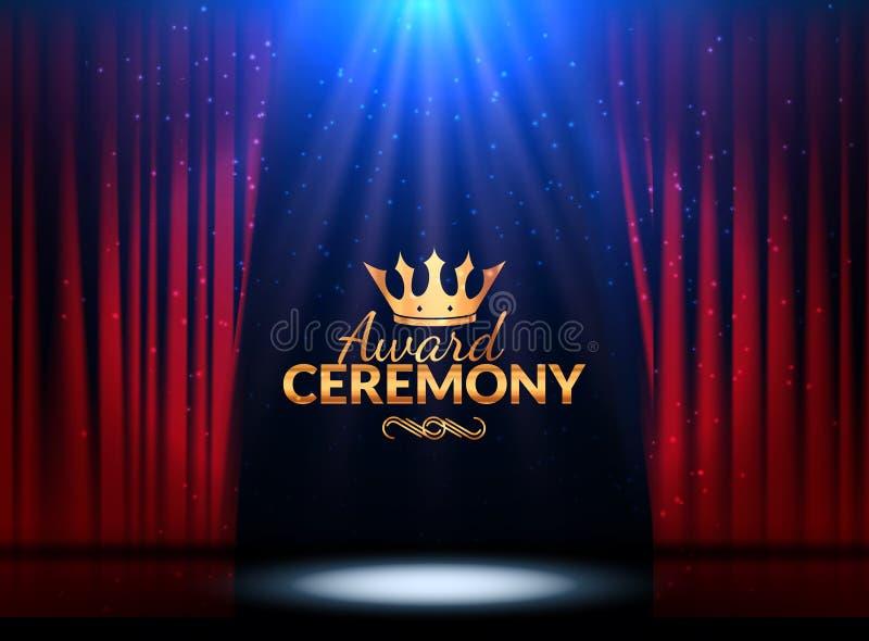 Plantilla del diseño de la ceremonia de entrega de los premios Evento del premio con las cortinas rojas Diseño de la ceremonia de stock de ilustración