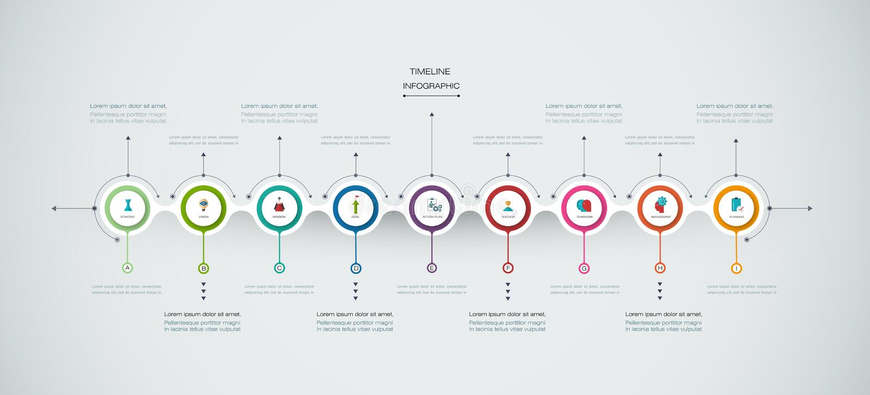 Plantilla del diseño de la cronología del infographics del vector con la etiqueta del papel 3D libre illustration