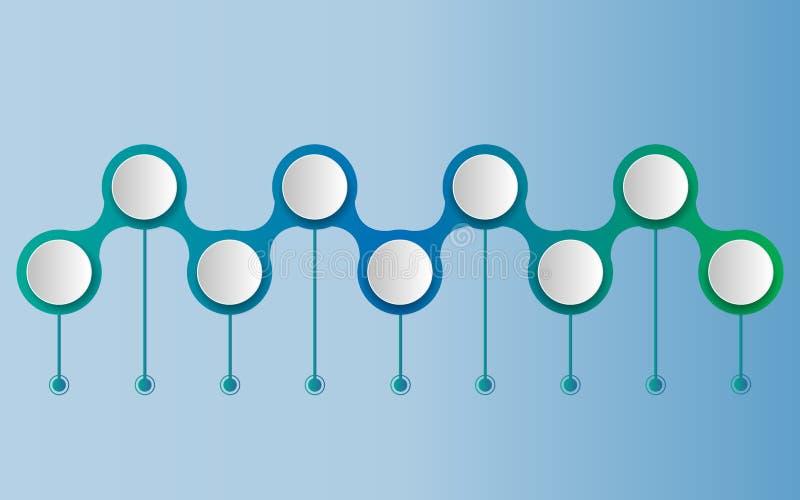 Plantilla del diseño de la cronología del infographics del vector con la etiqueta del papel 3D stock de ilustración