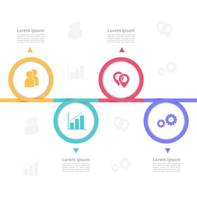 Plantilla del diseño de la cronología del infographics del vector del negocio con el ejemplo moderno del vector de 4 opciones stock de ilustración