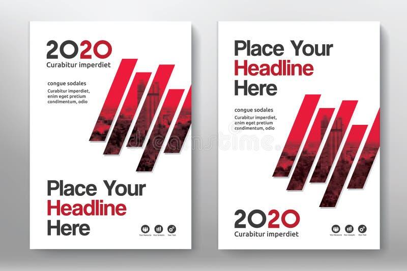 Plantilla del diseño de la cubierta de libro del negocio del fondo de la ciudad en A4 ilustración del vector