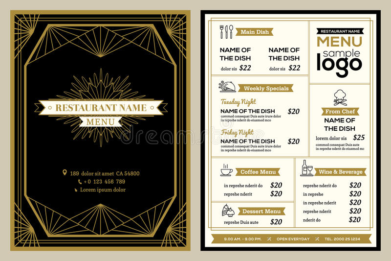 Plantilla del diseño de la cubierta del menú del restaurante o del café con el marco retro del vintage stock de ilustración