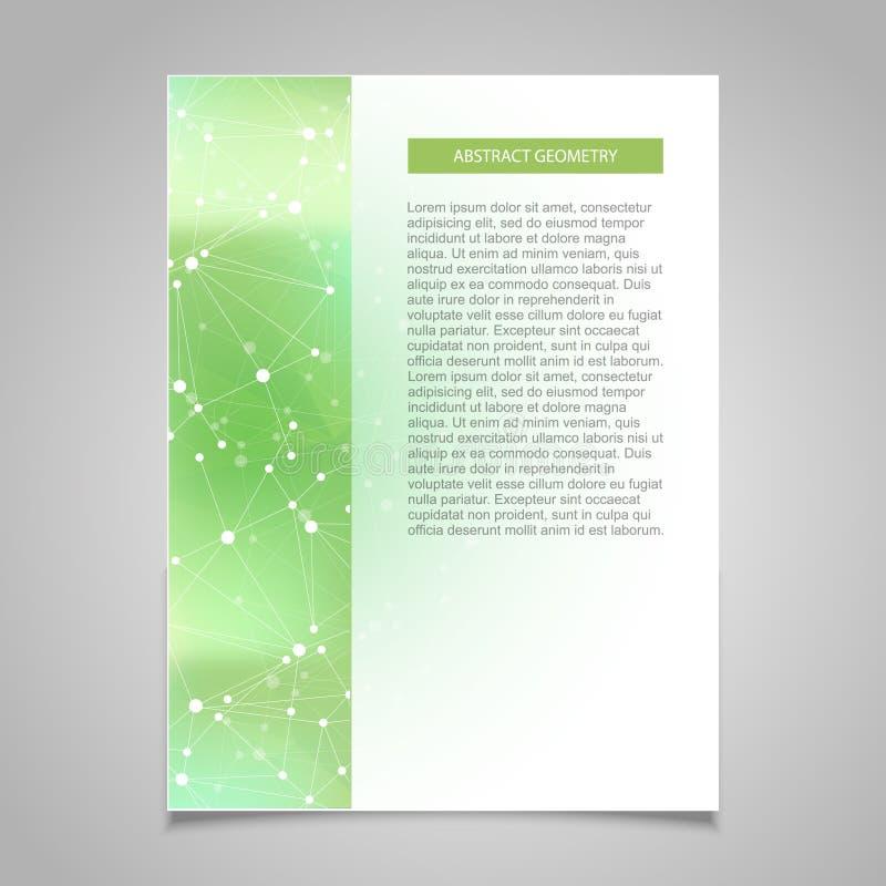 Plantilla del diseño de la cubierta del verde del folleto con el fondo abstracto del concepto de la conexión de red stock de ilustración