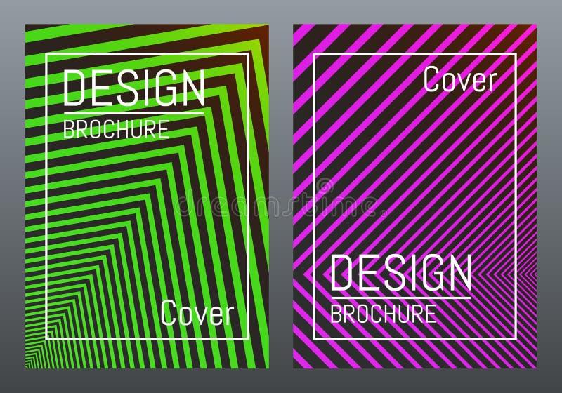Plantilla del diseño de la cubierta Líneas abstractas del color con pendiente Concepto de diseño moderno para el folleto, cartel, ilustración del vector