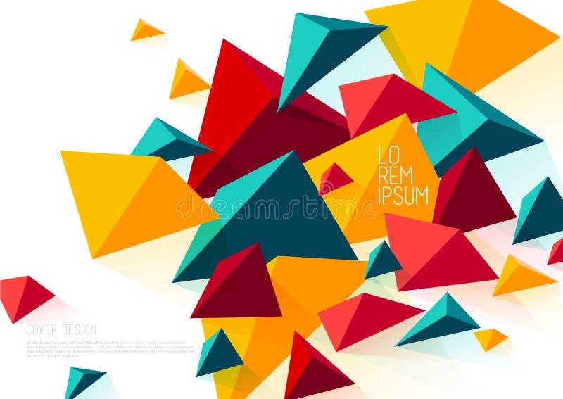 Plantilla del diseño de la cubierta de libro con los objetos poligonales abstractos libre illustration