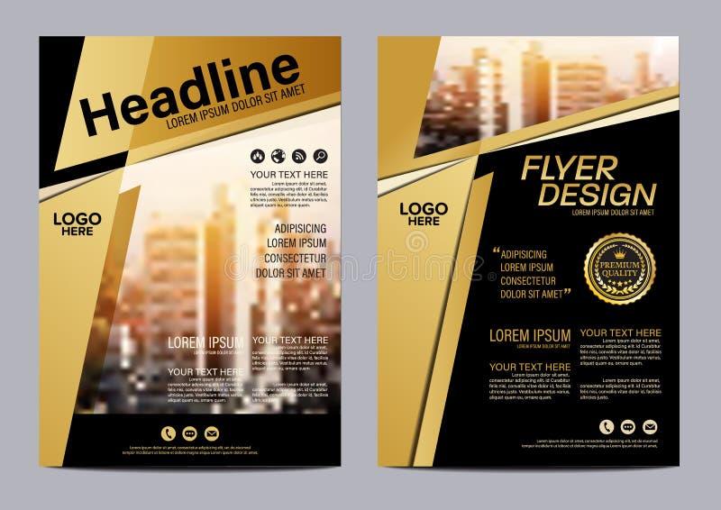 Plantilla del diseño de la disposición del folleto del oro Fondo moderno de la presentación de la cubierta del prospecto del avia ilustración del vector