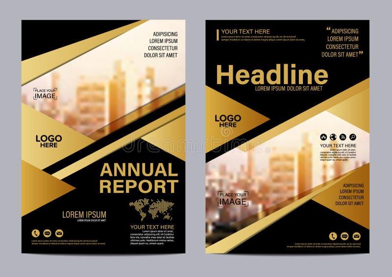 Plantilla del diseño de la disposición del folleto del oro Fondo moderno de la presentación de la cubierta del prospecto del avia stock de ilustración