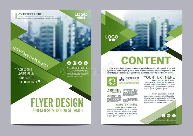 Plantilla del diseño de la disposición del folleto del verdor Presentación de la cubierta del prospecto del aviador del informe a libre illustration