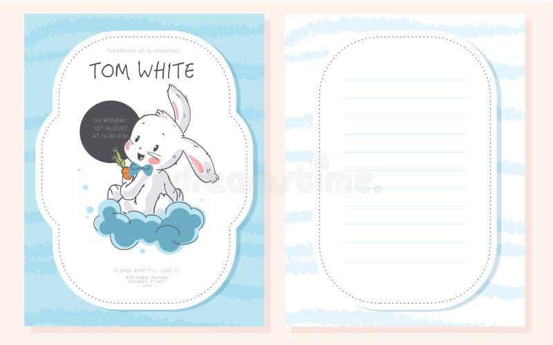 Plantilla del diseño de la fiesta de bienvenida al bebé del vector Carácter exhausto del conejito de la mano linda pequeño stock de ilustración
