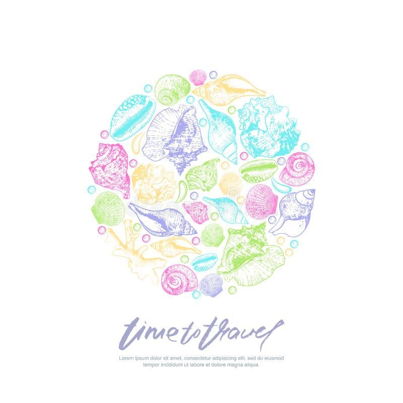 Plantilla del diseño de la impresión del vector con las conchas marinas y las letras multicoloras de la caligrafía Ilustración dr stock de ilustración