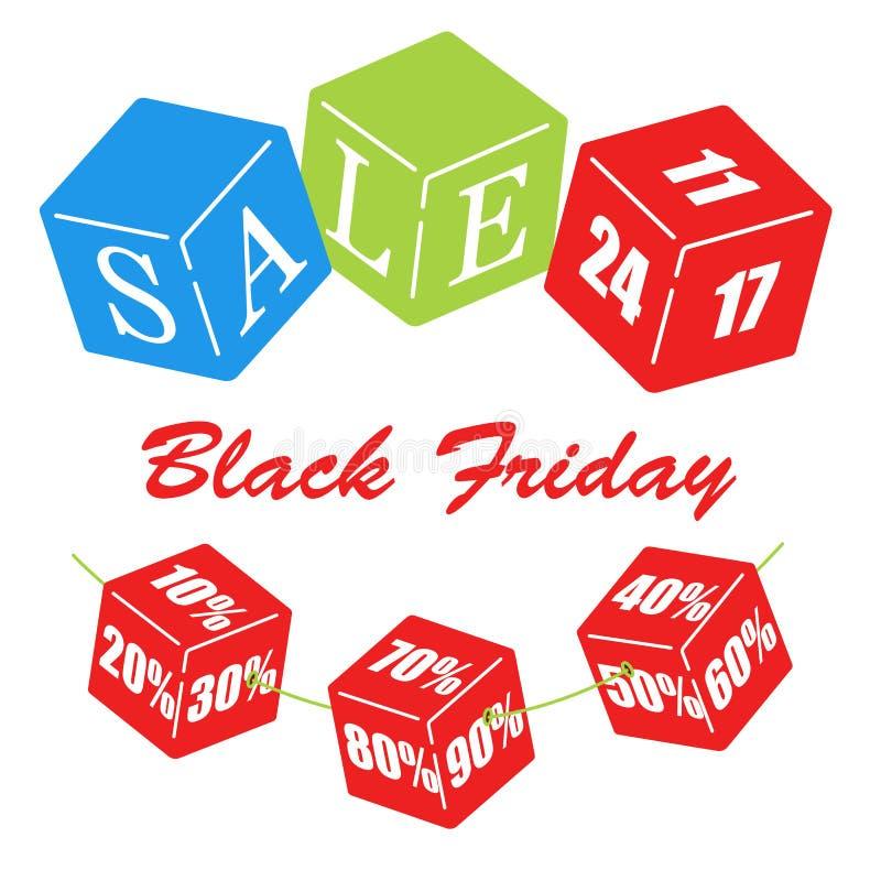 Plantilla del diseño de la inscripción de la venta de Black Friday Cubos de los niños del color ilustración del vector