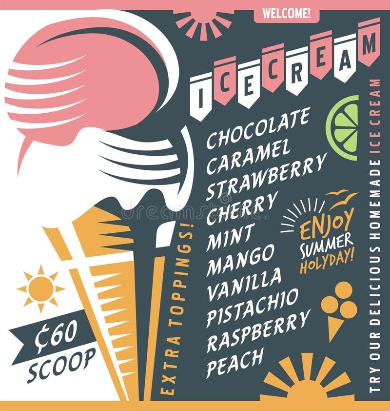 Plantilla del diseño de la lista de precios del vendedor del helado stock de ilustración