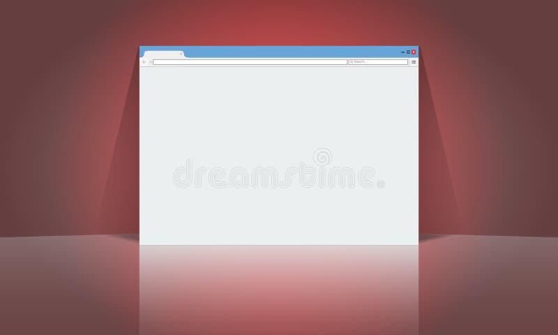 Plantilla del diseño de la maqueta de la ventana de navegador para su disposición del anuncio Vector plano del color stock de ilustración